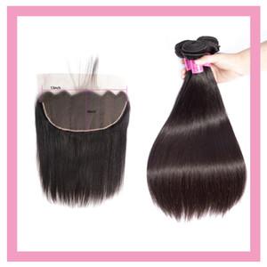 Перуанские человеческие волосы 3 пакета с 13x6 кружева фронтальные прямые 4 шт. / Лот натуральные цветные расслоения с 13 на 6 Frontal Precucked