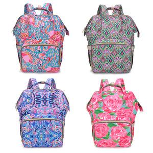 9Styles floral momia mochilas flamenco impresión del pañal del bebé Mochilas Bolsas de pañales mamá de alimentación de la madre maternidad mochilas bolsas para pañales M1015