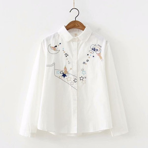 S24109 Spring and Autumn New Han Fan Small Fresh Embroidery Star Stripe Long Sleeve Shirt Female Student Bottoming Shirt