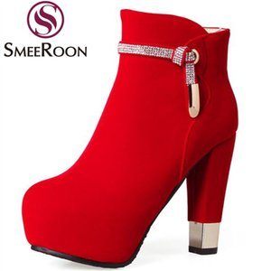 Smeeroon fashion crystal solid color ankle boots for women elegant warm winter boots round toe high heels flock prom shoes