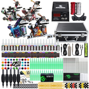 Complete Tattoo Kit 4 Top Machines Liner Shader Gun 40 Color Ink Power Supply Needle D120GD-16
