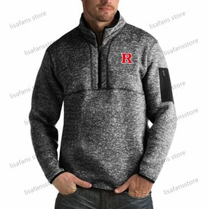 Rutgers Scarlet Knights Pullover Sweatshirts Mens Fortune Big & Tall Quarter-Zip Pullover Jackets Stitched College Football Sports Hoodies