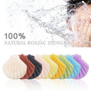 Shell konjac visage Puff visage Cleanse lavage éponge konjac Exfoliant Nettoyant éponge Outils de maquillage du visage de soins HHA-305