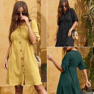 YHavaton 2020 Elegant Buttons Puff Sleeve Women Dress V-neck Female Yellow Summer Dress Casual Office Work Ladies Mini Dresses