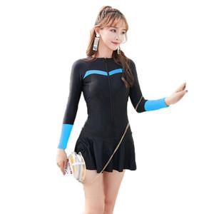 Costume da bagno a maniche lunghe da donna sexy 2019 Estate Plus Size Costumi da bagno sportivi Carina donna Cerniera Costume intero Gonne Costumi da bagno sul fondo
