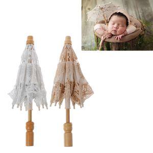 Fotoğraf Prop Atıcılık Aksesuarları Yenidoğan Bebek Fotoğraf Dikmeler Dantel Beyaz Şemsiye Bebek Studio