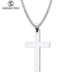 Edelstahl Einfache Kreuz Anhänger Halskette für Frauen Mode Silber Vergoldung Christian Pray Jesus Kette Halskette Schmuck Geschenk