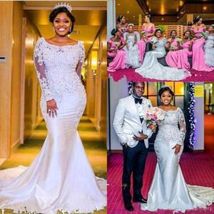 Нигерийские русалки свадебные платья 20 возлюбленные с бисером кружева с длинными рукавами с длинными рукавами часовня Длина поезд африканская черная девушка свадебные платья