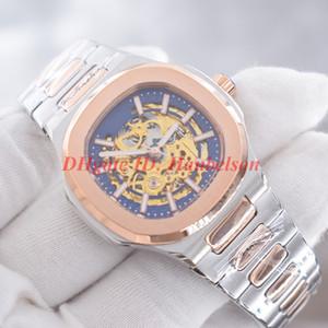 Los hombres de alta calidad movimiento automático reloj Montre de luxe pp marcación hueco negro cubrir el fondo transparente de pulsera mecánicos