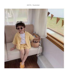 Yaz bebek erkek moda giyim setleri 2 adet takım elbise çocuklar pamuk keten kısa kollu gömlek ve şort çocuk giyim suits