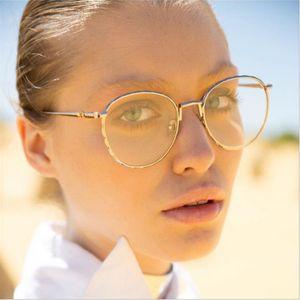 Marco mayor-Mincl Moda Gafas de sol redondas de la miopía de lectura / dioptrías graduación Lentes con el caso YXR