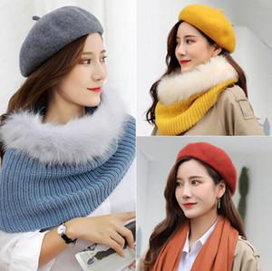 12 colori del cashmere delle donne Beret alto grado solido Beanie Pittore Cap Bonnet Caps elastico piatto elegante cappello Trilby Winter Warm cappelli esterni