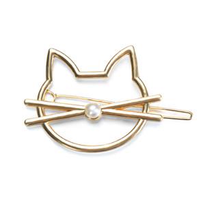 Presentes Clipe Moda oco cabelo bonito Cat Pin Imitação Pérola Hairpin Side acessórios de cabelo Barrette Para mulheres da menina