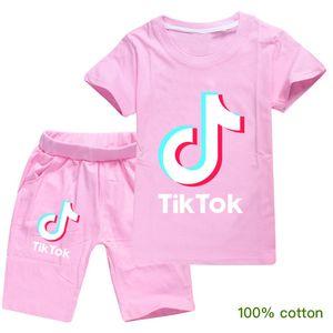 tiktok Shorts 2020 HOT Venda Tik Tok T-shirt calças de duas peças de algodão Confortável respirável manga curta Crianças Roupa Infantil