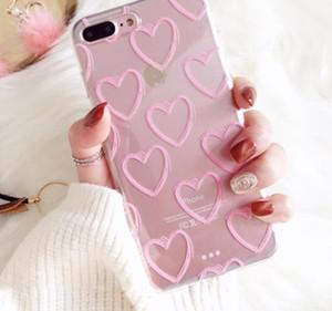 Telefon Kılıfları Iphone Xs Için Max Xr Xs X 5 5 s Se 6 6 s 7 8 Artı Ultra-ince Pembe Aşk Kalp Yumuşak Tpu Temizle Telefon Arka Kapak