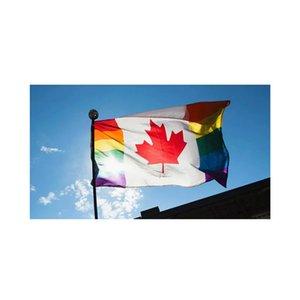 canada-rianbow-bandeira, 3x5 150x90cm Serigrafia 90% sangramento poliéster Banners Publicidade ao ar livre Uso Indoor, transporte da gota