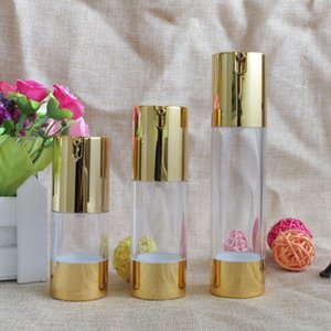 New Gold Cosmetic Airless Lotion Bottle Essence Serum Packaging Pump Bottles 15ml 30ml 50ml Empty Makeup Containers 100pcs