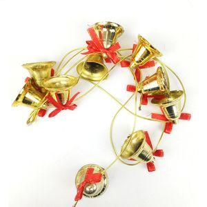 1.5M Decorazione natalizia campana 4CM Ten Bells d'oro lunghe stringhe Partito Bow Pendant Home Bar Albero di Natale Orologio da parete Charm