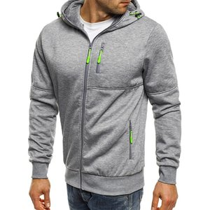 Casual aptidão Cardigan Exteriores PDG1016 PADEGAO camisola Men Outono Inverno Hoodies masculino bolso com zíper com capuz agasalho de Homens
