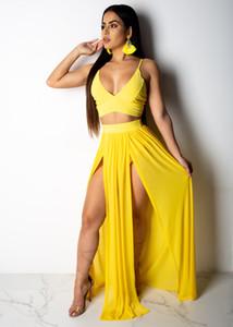 Sexy 2 Piece Chiffon Spaghetti Strapless Dress 2019 Women Sundress Sexy Sleeveless Yellow Backless two Piece High Split White Maxi Dress