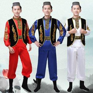 Fashion Ethnic Styles vêtements de danse Set Xinjiang danse Costume pour hommes fantaisie performance de festival Uyghur cosplay vêtements