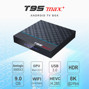 T95 Max + Android 9.0 TV Set Top Box Amlogics905x3 4GB 32 / 64GB QuadCore USB3.0 المزدوج WIFI 8K BT4.0 ل Smart Android TV Box