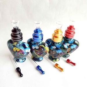 유리 그릇 (12) 스타일을 사용하여 파이프 담뱃대 시샤 기억 만 두 기능 필터 담배 담배 파이프 흡연 최신 심장 모양의 유리 병