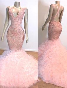 Sirena rosada del bebé africanos vestidos de baile 2020 de conexión en cascada de las colmenas de tren de larga vestidos de noche con apliques de las lentejuelas blusa vestidos de noche BC1619