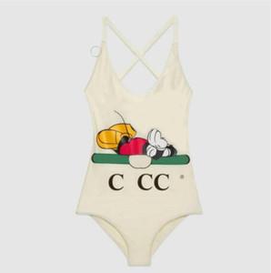 20SS verão Swimwear Made in Italy Sexy Uma peça Bikini por Mulheres Swimsuit dos desenhos animados impresso Praia Backless maiôs S-XL