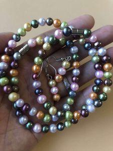 Envío gratis Natural Natural Freshwater Cultured Pearl Collar 7-8mm Casi redondo Perla Tamaño largo 48 pulgadas Collar Faishon Joyas
