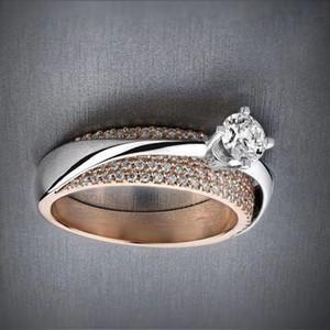 절묘한 두 톤 925 도금 실버 반지 고체 14k 로즈 골드 화이트 사파이어 다이아몬드 반지 제안 기념일 선물 신부의 참여 Weddi