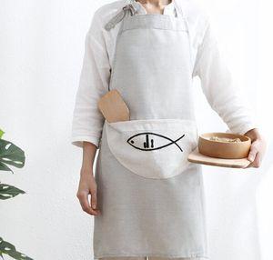 Pamuk Keten Önlük Şef Garson Mutfak Cook Apron Cepler ile Gri Ev Mutfak Önlüğü 71 * 66 cm
