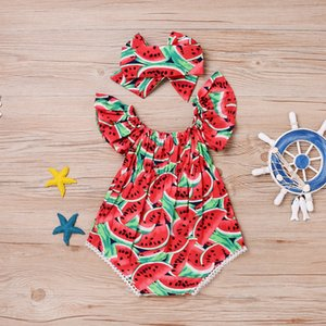 Watermelon Printed Newborn Baby Girls Clothes Body suit Romper Jumpsuit Children Kids Girl Outfits Playsuit with headband