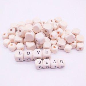 Carta Beads baratos 50pcs Mixed Alphabet / Praça em forma de madeira Bead Natural cor de madeira Beads DIY colar pulseira jóias fazendo Acessórios