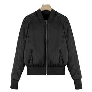 Fashion Winter Bomber Jacket for Women Female Thicken Lozenge Plaid Long Sleeve Short Collar Casual Basic Jacket Coats