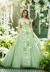 공주 민트 그린 댄스 파티 드레스 아름 다운 꽃 공식적인 Evenign 가운 2019 아랍어 플러스 크기 특별 한 경우 빈티지 quinceanera 드레스
