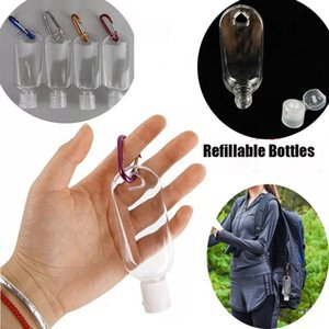50ML 60ML Empty Alcohol Refillable Bottle with Key Ring Hook Clear Transparent Plastic Hand Sanitizer Bottle