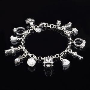 Braccialetti di fascino della traversa del cuore per le donne 925 sterlina placcato Blocco Fashion Star luna diamante Catena ragazza gioielli regalo con 21 centimetri Stamp