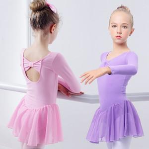 뜨거운 판매 체조 발레 드레스 댄스 Leotards 소녀 키즈 라이크라 코튼 발레 댄스 착용 시폰 스커트와 함께