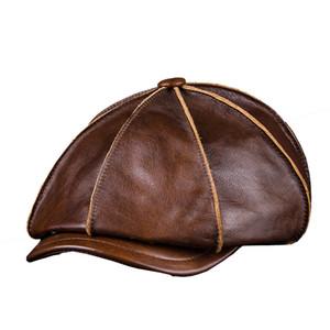 En cuir véritable pour hommes chaud Octogonale Cap, Casual Vintage Newsboy Cap Golf Driving Flat Hat Cabbie, Homme d'hiver Artiste Gatsby Cap Y200110