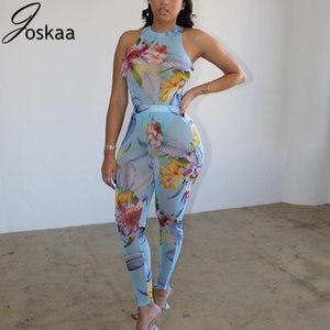 Joskaa Mesh Print Floral Print Women Sleeveless Bodysuit + Long Pants 2 Piece Set Sexy Club Night Party Matching Tracksuit T200702