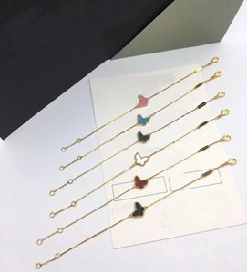 Europa América Lady Moda Mulheres Brass único motivos Onyx Mãe de Pearl Malaquita Carnelian Mini borboleta ouro 18k pulseiras Cadeia