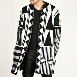 maglione uomo cardigan Uomo Autunno Inverno Moda Trend Personalità Nero Bianco grigio Cappotto di cucitura caldo inverno 2018 pull homme