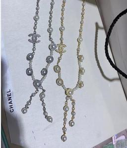 Cadena elegante Número mujeres suéter de la perla Negro esmalte blanco Accesorios joyería del partido muchacha de las mujeres collar de la flor de la camelia
