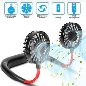 Ароматерапия Hands Free Hanging охлаждения Мини вентилятор шейным Ленивый горлышка Fragrance Dual Cooling Fan Mini Sport 360 градусов Вращающиеся