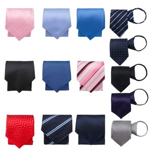 Clássico Zipper Ties Pretied Sólidos Silk Color gravata Sólidos Stripe Pattern pré-fabricados laço dos homens Atacado Apropriado para o desgaste formal Casual