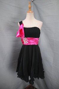 2020 En Stock Robes d'une épaule en mousseline de soie satin perles volants A-ligne robe de soirée Robes de bal G05