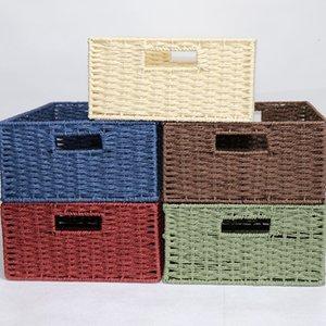 Корзины для хранения Тканый ремень хранения Tote Корзина Идеально подходит для дома и ванной комнаты Организация Cube Storage Box