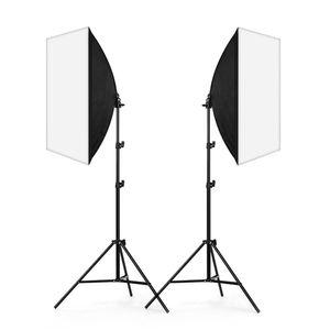 Kit de iluminación continua para fotografía 2x 50x70cm Softbox Soft Box + 2x 45W Lámpara + 2x 2m Soporte de luz para fotografía de retratistas Estudio fotográfico