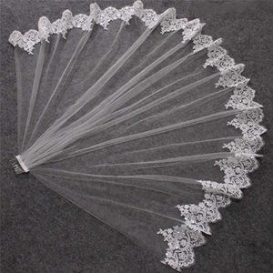 Courte dentelle Veil mariage avec peigne bling Paillettes en dentelle couche Bridal Veil Blanc Voile d'Ivoire pour la mariée Welon